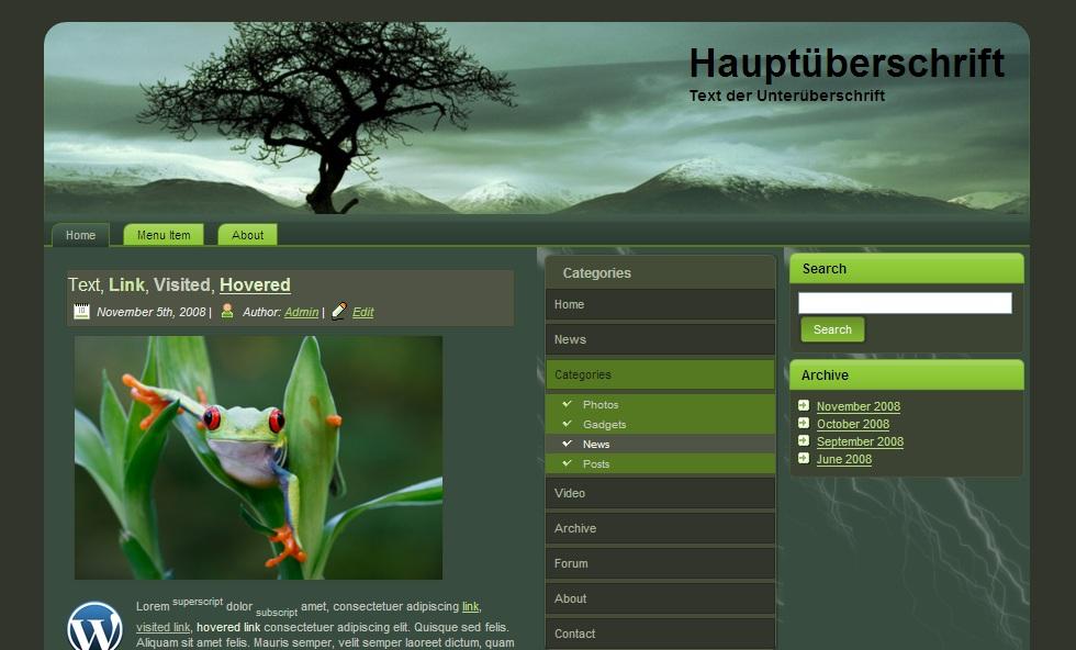 Kostenloses Theme Darkmood Fur Wordpress Joomla Drupal Html