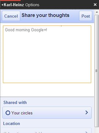 Google Plus GClient Texteingabe