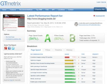 gtMetrix Pagespeed Report