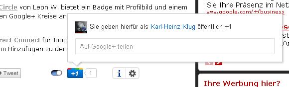 Google Plus Button Sharing nach Google Plus