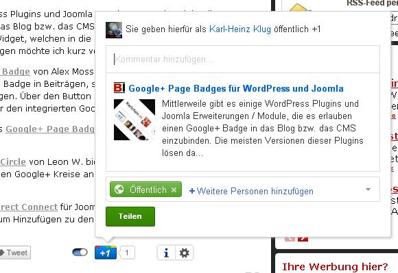 Google Plus Button - Übetragen des Beitrages