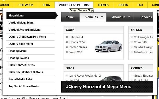 WordPress Plugin – jQuery Drop Down Mega Menu