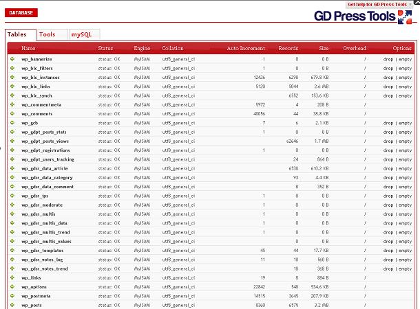 GD Press MySQL Screenshot