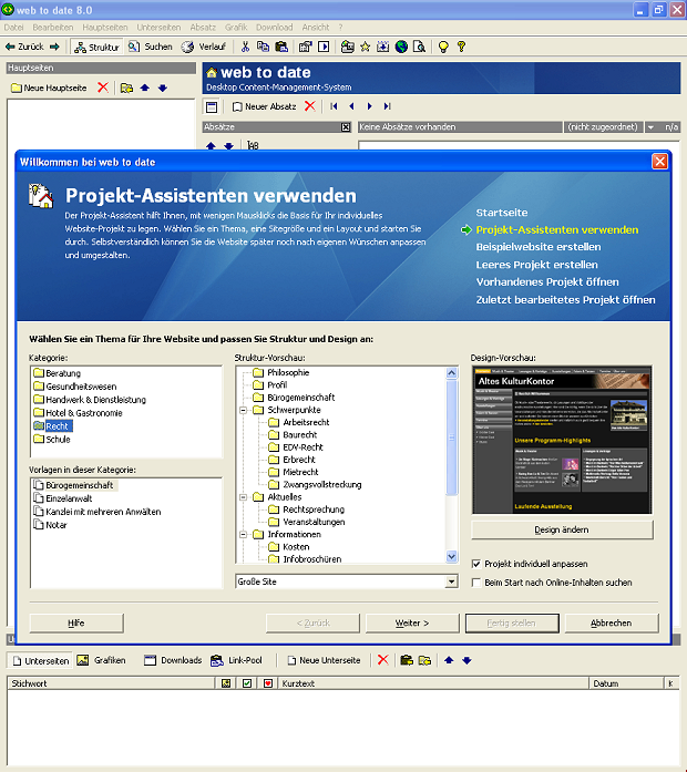 web to date 8 Projektauswahl