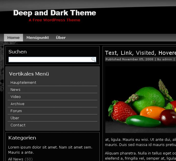 Deep Dark WordPress Theme