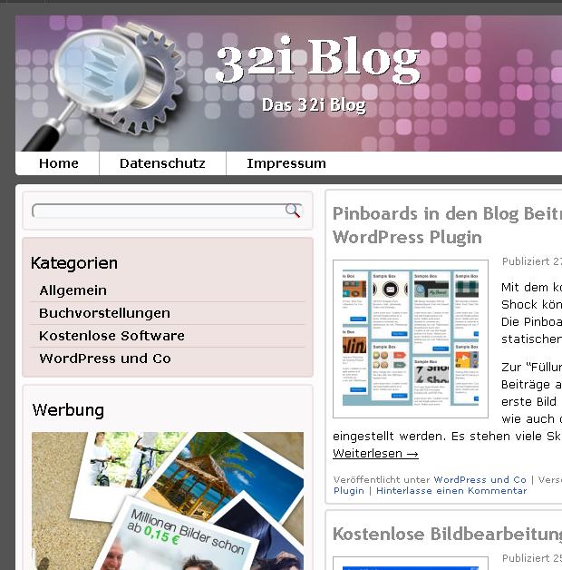 32i Blog WordPress Theme Ausschnitt