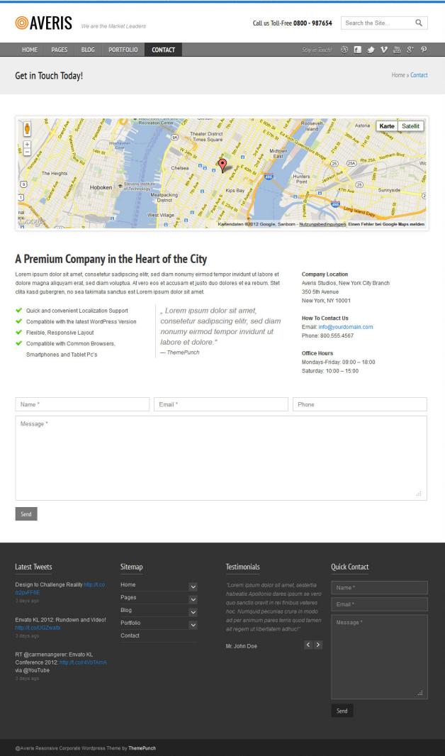 Das Kontakt-Formular des Averis Responsive Business WordPress Theme