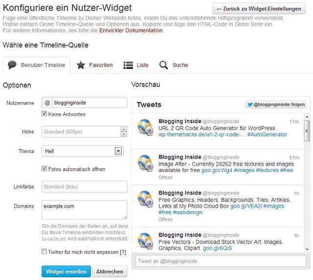 Neue Twitter Widgets