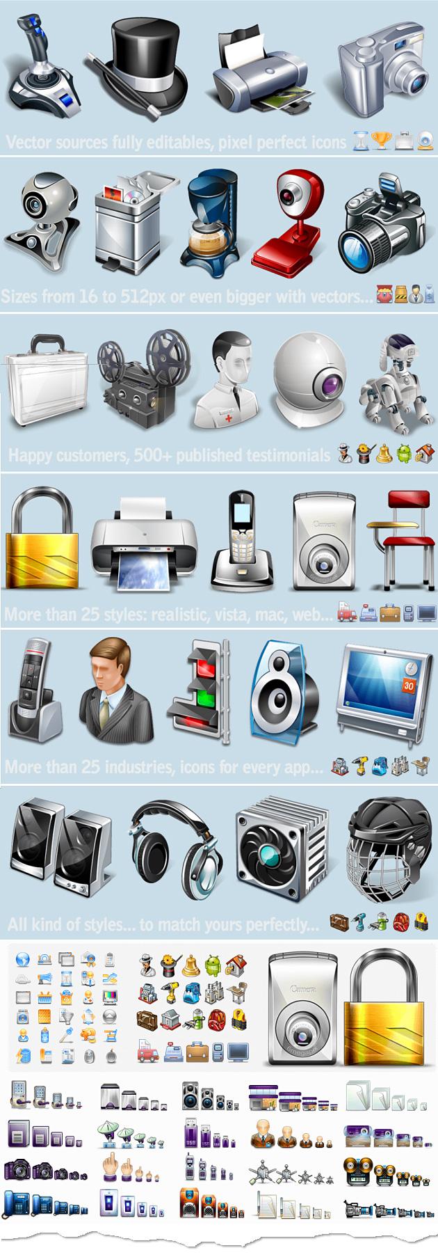 Eine kleine Auswahl der im Paket enthaltenen Icons