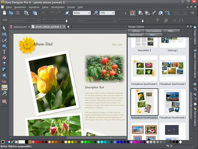 Xara Designer Pro X - Eine der vielen Design- Vorlagen