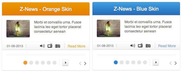 Beispiel zwei verschiedener Z-News Skins