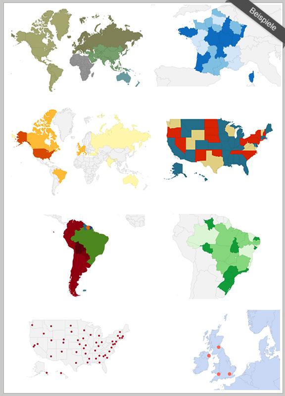 Einige Beispiele Interactiver World Maps