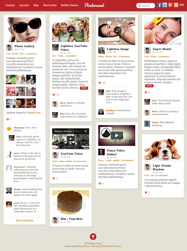 Pinboard WordPress Theme im Masonry Stil