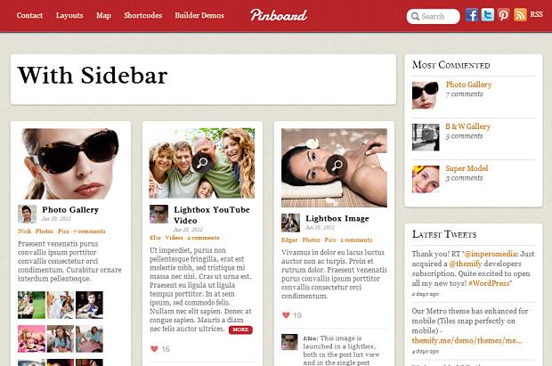 Pinboard WordPress Theme mit Sidebar