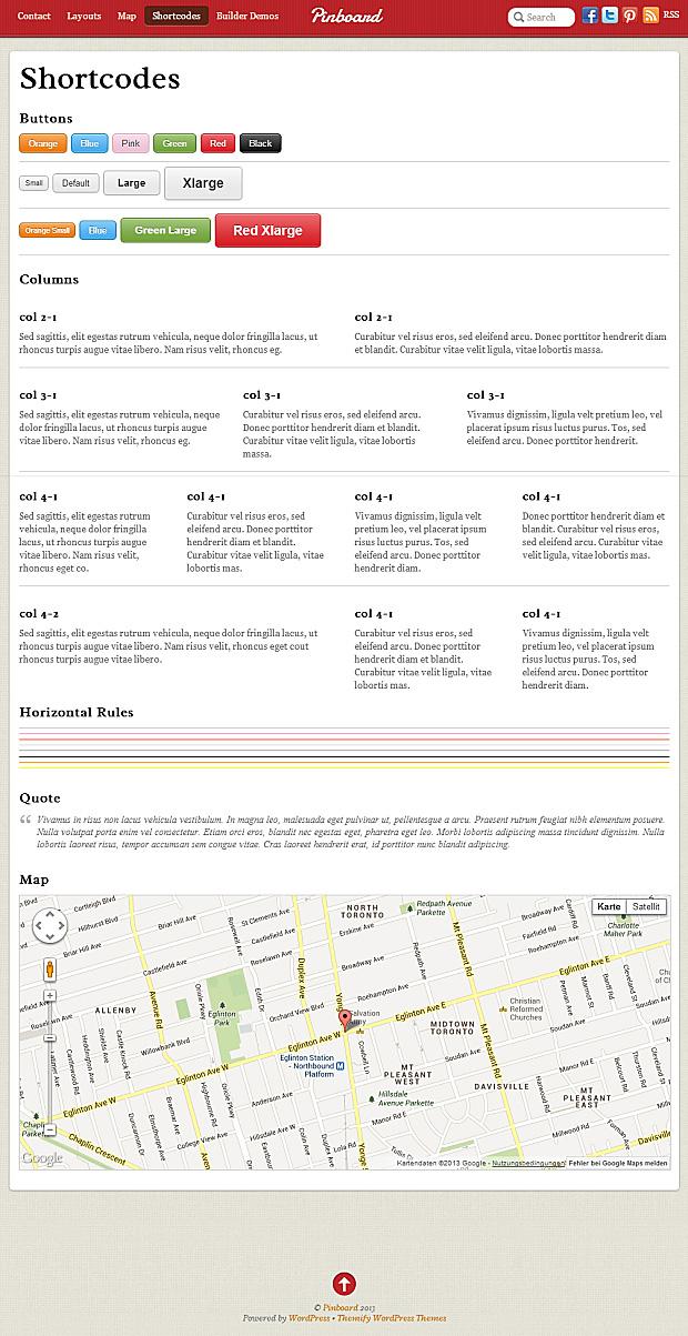 Pinboard WordPress Theme Shortcodes