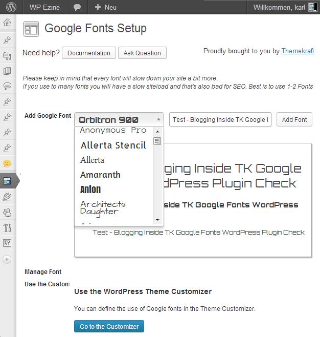TK Google Fonts Plugin von themekraft