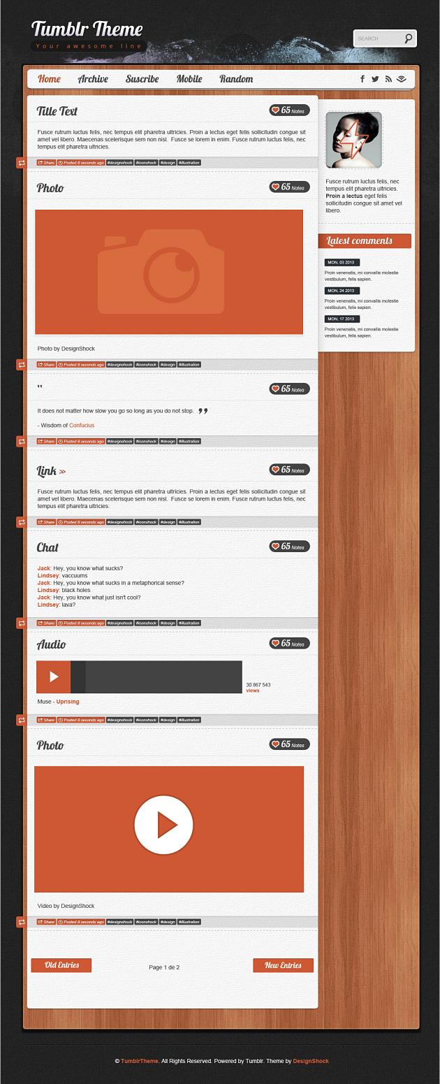 Tumblr Theme Beispiel aus dem DesignShock Paket