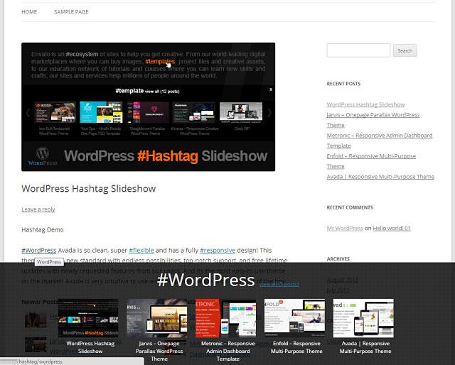 WordPress Hash Tag Slideshow
