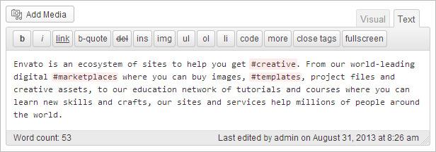 Ansicht im WordPress Editor