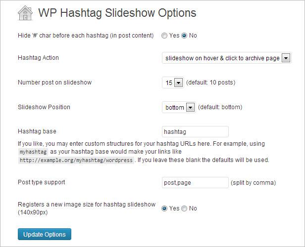Hashtag Slideshow Administration für WordPress