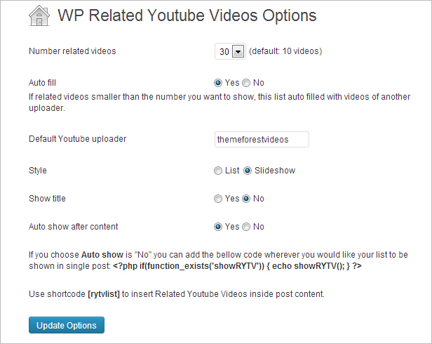 WP Related Youtube Videos Einstellungen Admin Bereich