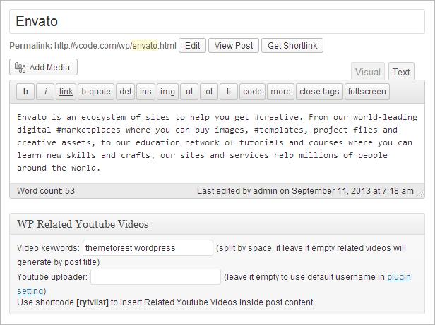 WP Related Youtube Videos Einstellungen unter dem Editor