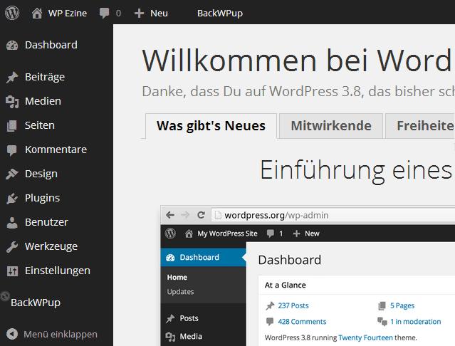 WordPress 3.8 in neuem Design