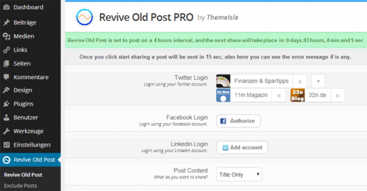 Mit WP Revive Old Posts Postings an Twitter, Facebook und LinkedIn senden